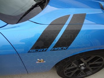 2015 to Present Dodge Challenger Hood to Fender Hash Stripes