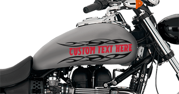 Image of Flaming Block Text Gas Tank Decals