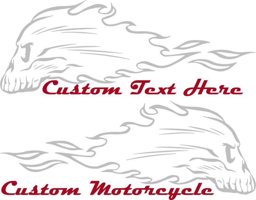Motorcycle Flaming Skull FS3 Gas Tank Decals Design Image