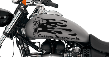 Image of Flaming Skull FS5 Motorcycle Graphics