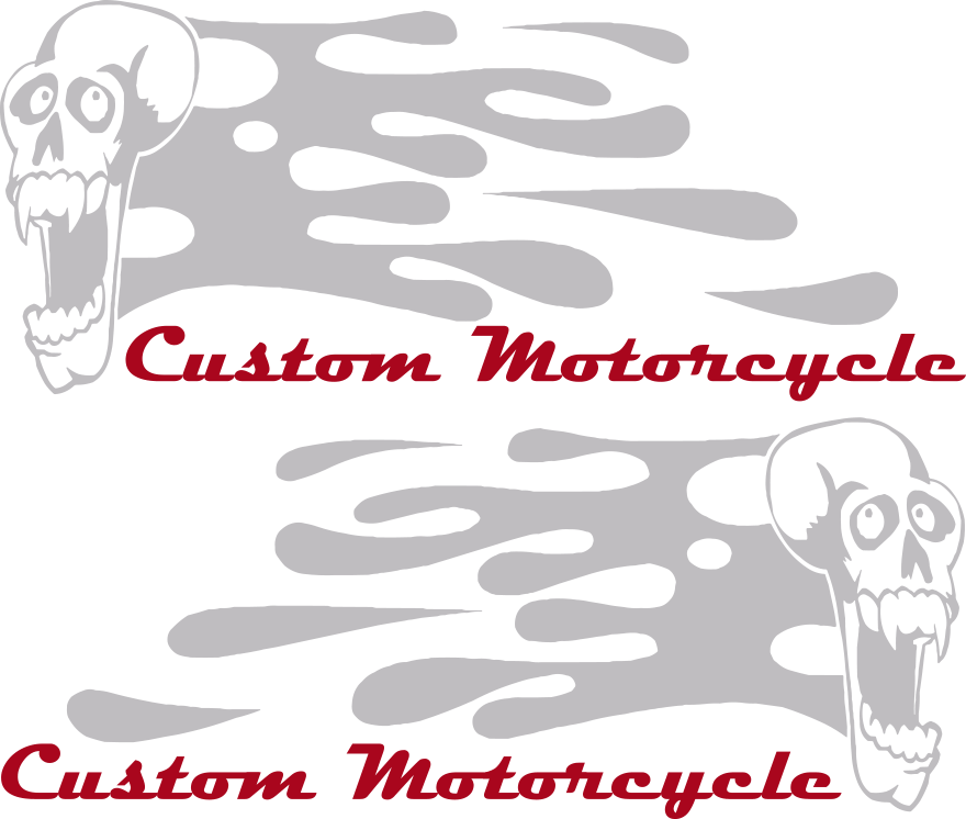Motorcycle Flaming Skull FS5 Gas Tank Decals Design Image