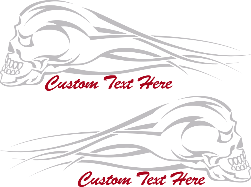 Motorcycle Flaming Skull FS7 Gas Tank Decals Design Image