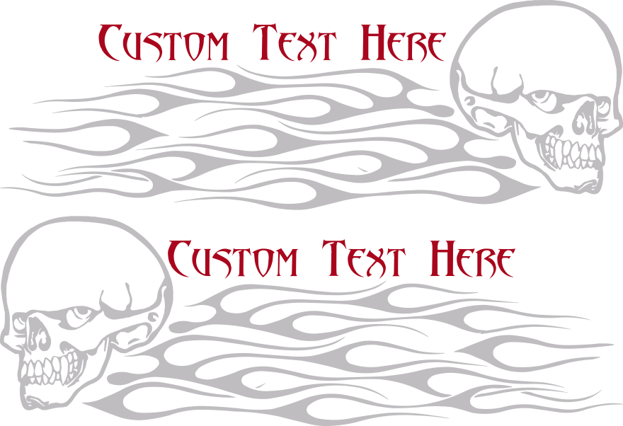 Motorcycle Flaming Skull FS9 Gas Tank Decals Design Image