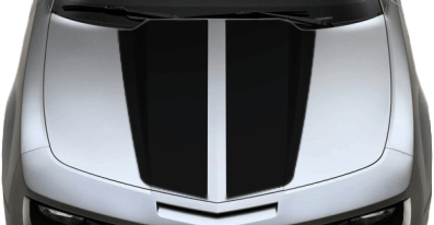 View 2010 to 2013 Chevy Camaro with and without OEM Style Hood Decal Graphics installed.