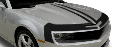 View 2010 to 2013 Chevy Camaro with and without Upper Fascia & Hood Stripes Graphics installed.