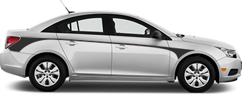 Side Rear Hockey Front Contour Stripes for the 2012 to 2014 Chevy Cruze