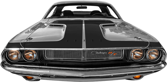 1970-1974 Challenger Hammerhead Hood Blackout on vehicle image.