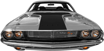 Hood Blackout / T-Hood Decal on the 1970 to 1974 Dodge Challenger