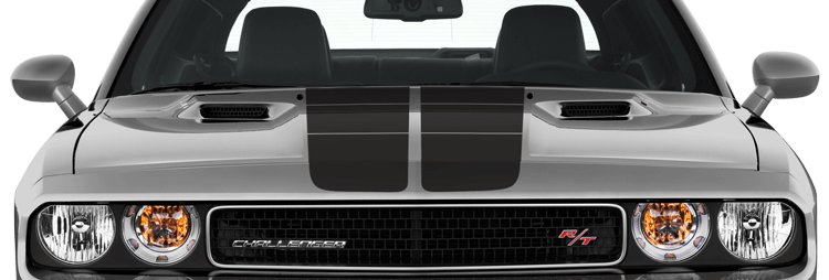 Image of Blacktop '16 Rally Stripes Kit on 2008 Dodge Challenger