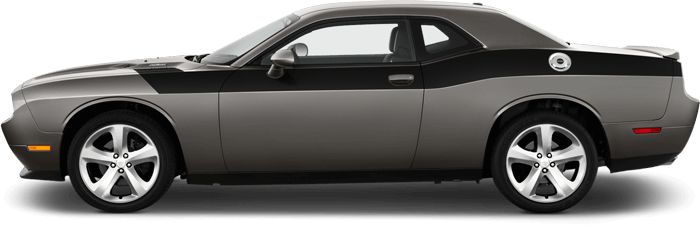 View 2008 to 2014 Dodge Challenger with and without Full Length Upper Body Hash Combo Stripes Graphics installed.
