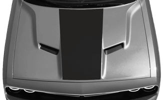 View 2015 to Present Dodge Challenger with and without Center Hood Decal Graphics installed.