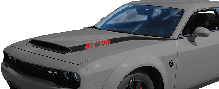 2018-2018 Challenger SRT Demon Power Bulge Hood Spears on vehicle image.