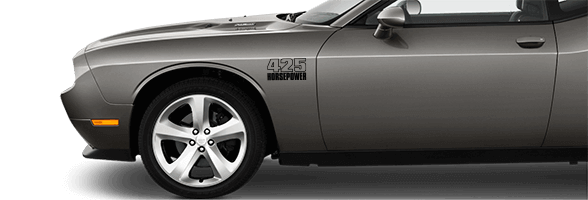 2015-2019 Challenger Front Fender Callouts on vehicle image.