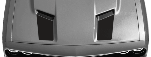 2015-2019 Challenger Hood Intake Accent Stripes on vehicle image.
