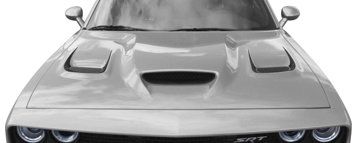 2015-2020 Challenger SRT Hellcat Hood Vent Accent Stripes on vehicle image.