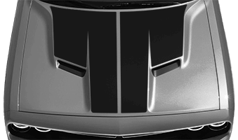 View 2015 to Present Dodge Challenger with and without Main Hood Decal Graphics installed.