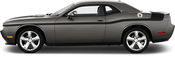 2015-2021 Challenger MOPAR 14 Style Side and Trunk Stripes on vehicle image.