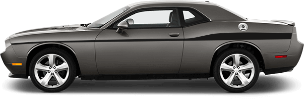 2015-2019 Challenger Redline Side Stripes Extended on vehicle image.