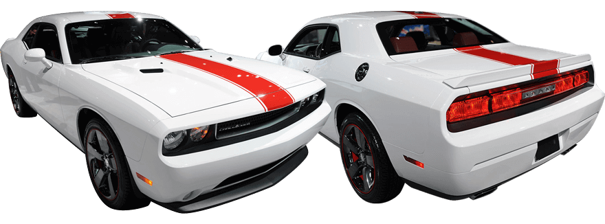 2015-2019 Challenger Redline Rally Racing Stripes Kit on vehicle image.