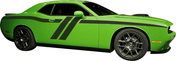 2015-2019 Challenger Trans-Am Side Stripes on vehicle image.