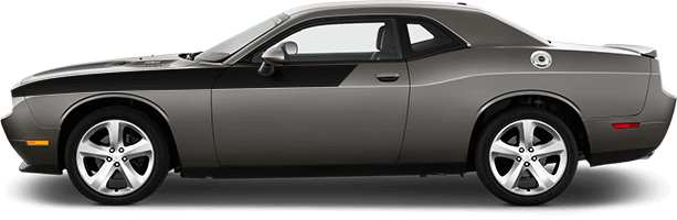 View 2015 to Present Dodge Challenger with and without Front Upper Body Partial Stripes Graphics installed.