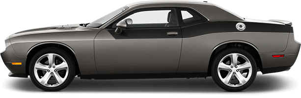 View 2015 to Present Dodge Challenger with and without Rear Upper Body Partial Stripes Graphics installed.