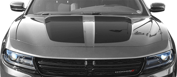 2015-2020 Charger Main Hood Decal on vehicle image.
