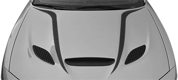 SRT Hellcat / SRT 392 / R/T Scat Pack Power Bulge Hood Spears on the 2015 to Present Dodge Charger