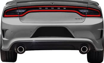 Rear License Plate Blackout Accents on the 2015 to Present Dodge Charger