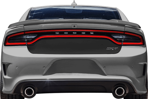 2015-2020 Charger Trunk Blackout Decal on vehicle image.