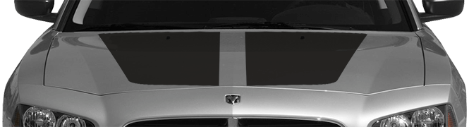 2006-2010 Charger OEM Style Main Hood Decal on vehicle image.