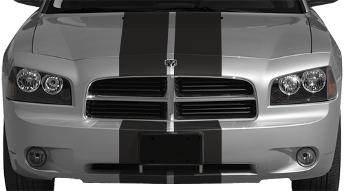 2006-2010 Charger Rally Racing Dual Stripes Kit on vehicle image.