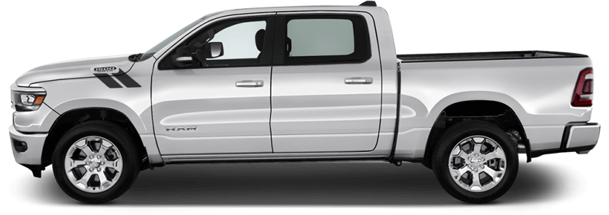 2019-2019 RAM 1500 Hood to Fender Hash Stripes on vehicle image.