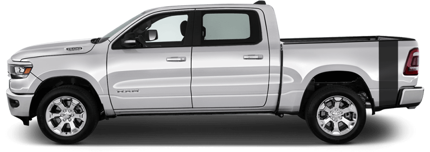 2019-2020 RAM 1500 Rumblebee Bedside Tail Stripes on vehicle image.