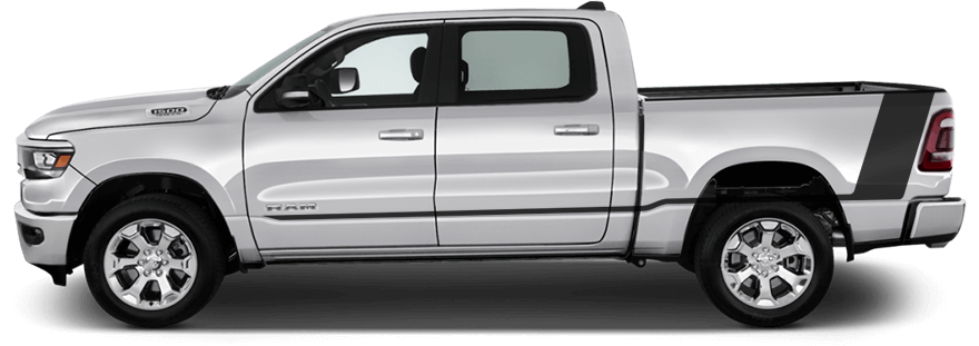 2019-2021 RAM 1500 Tail Rocker Accent Stripes on vehicle image.