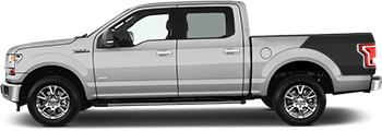Image of Rear Bedside Billboard Raptor Style Stripes on the 2015 Ford F-150