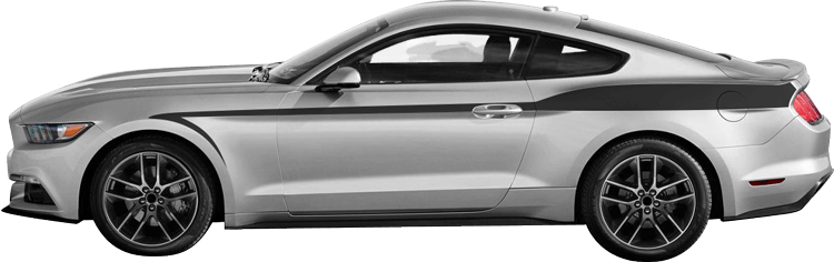 2015-2021 Mustang Cobra Fang Side Stripes on vehicle image.