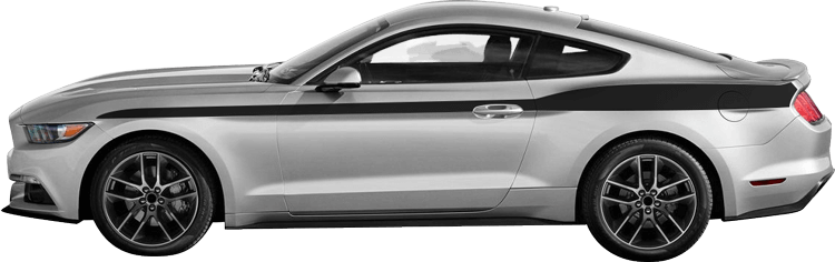 2015-2019 Mustang Full Length Upper Body Stripes on vehicle image.