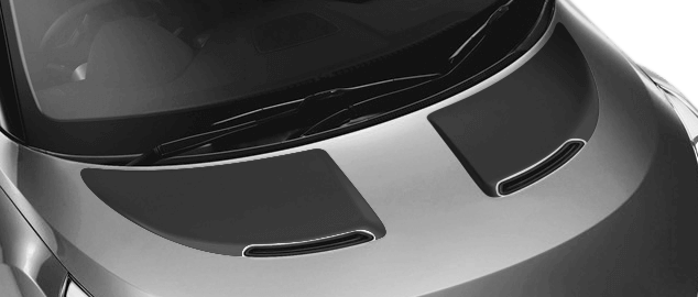 Image of Hood Scallop Accent Blackouts on 2011 Hyundai Veloster
